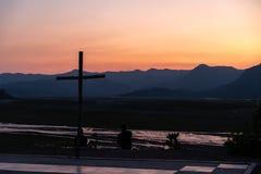Bello tramonto al Mt Pinatubo immagini stock libere da diritti