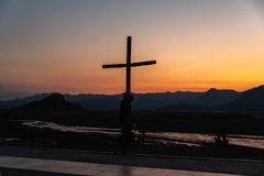 Bello tramonto al Mt Pinatubo immagine stock libera da diritti