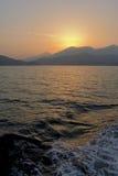 Bello tramonto all'isola di Lantau, Hong Kong Fotografie Stock Libere da Diritti