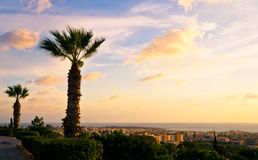 Bello tramonto alla linea costiera di Pafo, Cipro Fotografia Stock Libera da Diritti