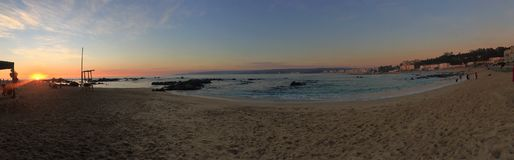 Bello tramonto alla spiaggia, Cile Immagine Stock