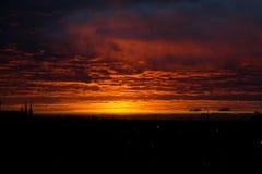 Bello tramonto arancione Immagine Stock