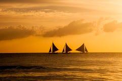 Bello tramonto a Boracay, Filippine Fotografia Stock Libera da Diritti