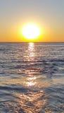 Bello tramonto con il mare in chanthaburi Fotografia Stock Libera da Diritti