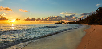Bello tramonto con le tracce di sabbia Fotografia Stock Libera da Diritti