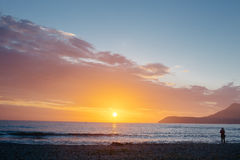 Bello tramonto del mare Immagini Stock Libere da Diritti