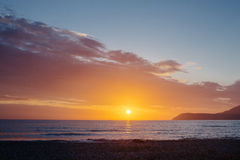 Bello tramonto del mare Fotografia Stock