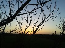 Bello tramonto del paesaggio Immagini Stock Libere da Diritti