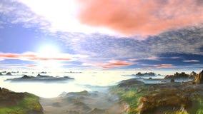 Bello tramonto della molla sopra le montagne nebbiose archivi video