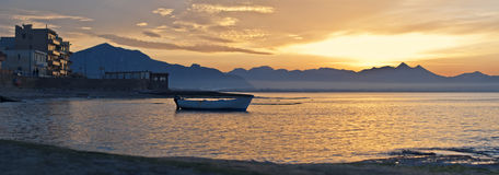Bello tramonto della Sicilia Fotografia Stock Libera da Diritti