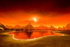 Bello tramonto di fantasia sopra l'oceano illustrazione di stock