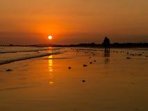 Bello tramonto di Florida sulla spiaggia Fotografie Stock Libere da Diritti