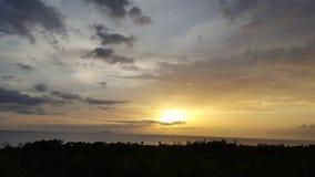 Bello tramonto di giorno della spiaggia Immagini Stock Libere da Diritti