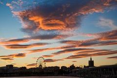 Bello tramonto di Malaga Fotografie Stock Libere da Diritti