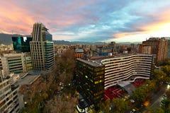 Bello tramonto di Santiago fotografia stock