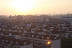 Bello tramonto di Schang-Hai Fotografia Stock