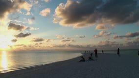 Bello tramonto dorato stupefacente alla spiaggia tropicale video d archivio
