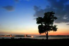Bello tramonto e cielo Fotografia Stock