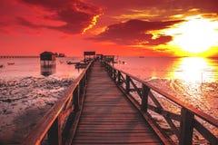 Bello tramonto e cielo arancio Immagini Stock Libere da Diritti
