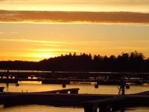 Bello tramonto in Finlandia, qui in Scandinavia Fotografia Stock Libera da Diritti