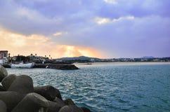 Bello tramonto in mare Fotografie Stock