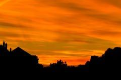 Bello tramonto nella città fotografia stock libera da diritti