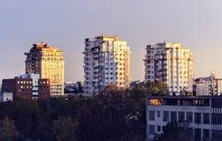 Bello tramonto nella città di Chisinau immagine stock libera da diritti