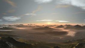 Bello tramonto nelle montagne stock footage