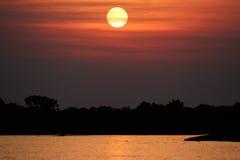 Bello tramonto in Pantanal nordico Fotografia Stock Libera da Diritti