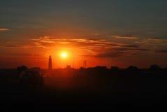 Bello tramonto rosso Fotografia Stock