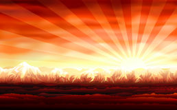 Bello tramonto rosso Immagini Stock Libere da Diritti