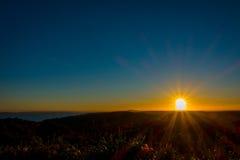 Bello tramonto sopra il golfo di Hauraki, con gli alberi e le colline profilati nella priorità alta Intrapreso la spiaggia a Immagine Stock Libera da Diritti
