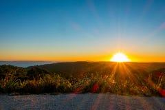 Bello tramonto sopra il golfo di Hauraki, con gli alberi e le colline profilati nella priorità alta Intrapreso la spiaggia a Fotografia Stock Libera da Diritti