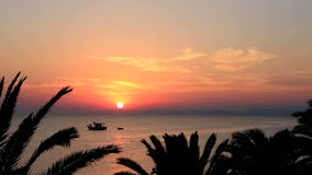 Bello tramonto sopra il Mar Egeo Lasso di tempo stock footage