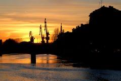 Bello tramonto sopra la città di St Petersburg, Russia fotografia stock libera da diritti