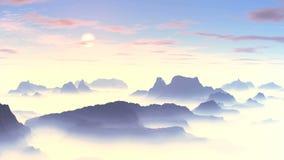 Bello tramonto sopra le montagne nebbiose archivi video