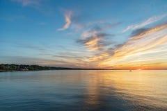 Bello tramonto sul lago Ontario Rochester, stato di New York, U.S.A. Fotografia Stock Libera da Diritti