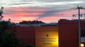 Bello tramonto sull'università fotografia stock