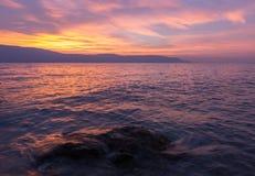 Bello tramonto sulla polizia italiana del lago Fotografie Stock Libere da Diritti