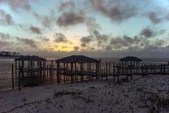 Bello tramonto sulle rive del golfo del Messico, Florida, U Immagini Stock Libere da Diritti