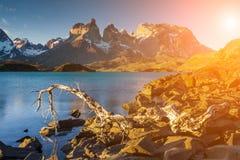 Bello tramonto in Torres del Paine, Cile Immagini Stock Libere da Diritti
