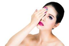 Bello trucco asiatico della donna con il rosa Immagini Stock