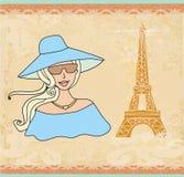 Bello turista a Parigi illustrazione di stock