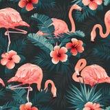 Bello uccello del fenicottero e fondo tropicale dei fiori Vettore senza giunte del reticolo royalty illustrazione gratis