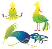 Bello uccello verde blu del fumetto degli uccelli Fotografie Stock