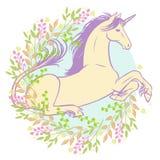 Bello unicorno che si trova nell'erba Fotografie Stock