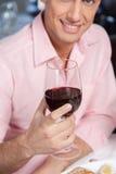 Bello uomo che tiene un bicchiere di vino immagini stock libere da diritti