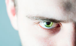 Bello uomo umano, tipo, occhio del fronte, macro, fine su Fotografia Stock Libera da Diritti