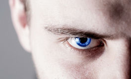 Bello uomo umano, tipo, occhio del fronte, macro, fine sul blu Fotografia Stock