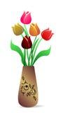 Bello vaso con i tulipani Fotografia Stock Libera da Diritti